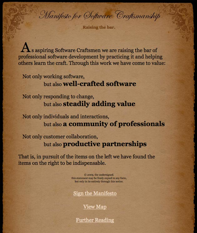 Manifesto for Software Craftsmanship