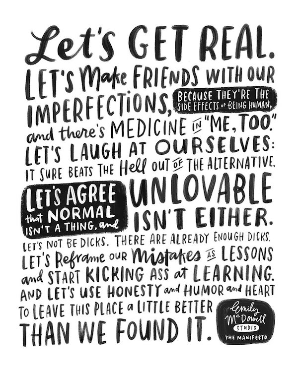 Emily McDowell's Lets Get Real Manifesto
