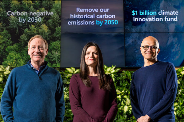 Microsoft Carbon Negative Pledge 2030 launch with the senior leadership team